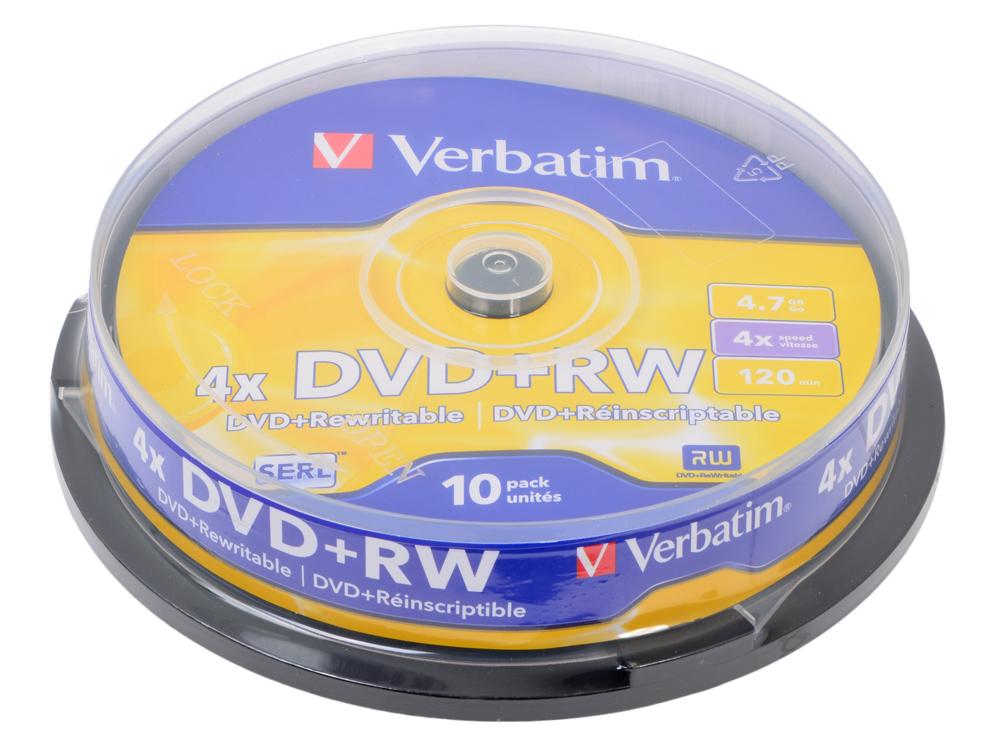Диски DVD+RW 4.7Gb Verbatim 4x 10 шт Cake Box 43488 цена