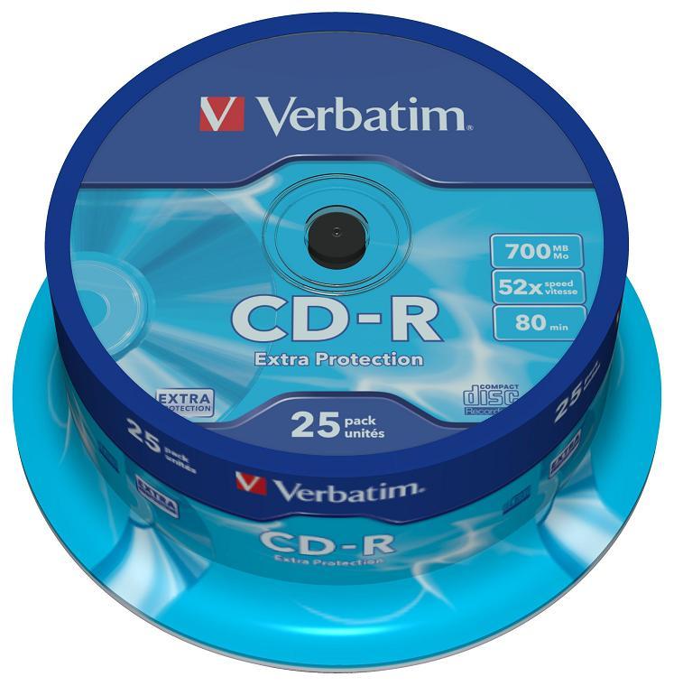 Диски CD-R 80min 700Mb Verbatim 52x 25 шт Cake Box DL 43432 диски cd rw 700mb 4x jewel 10 шт verbatim 43123