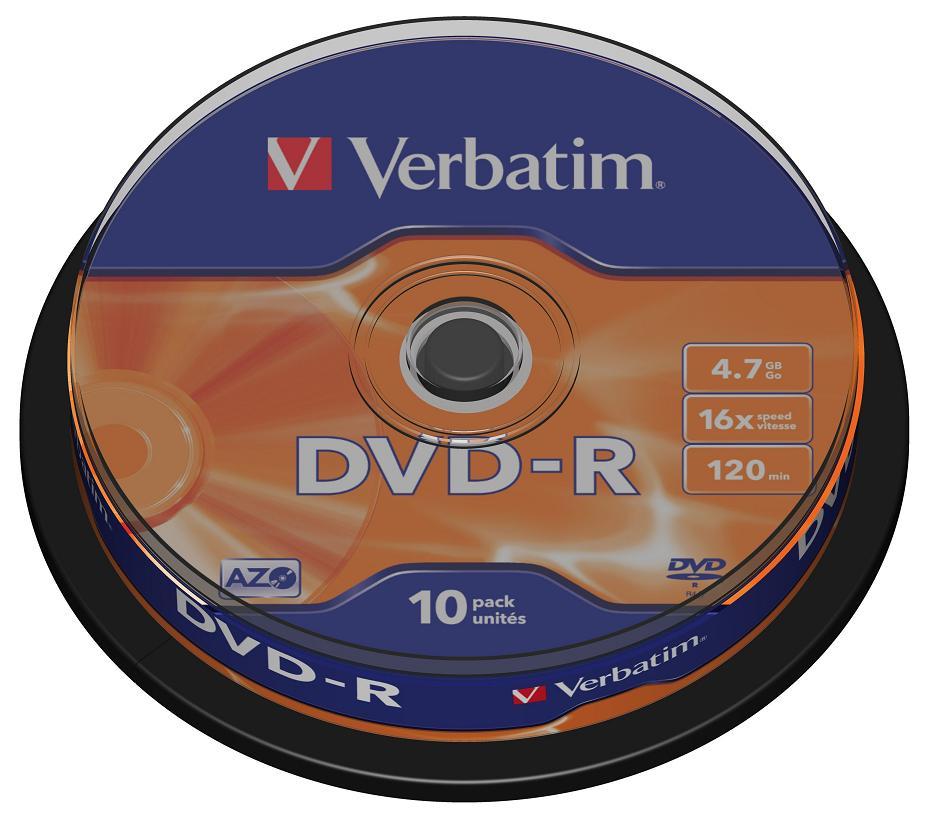Диски DVD-R 4.7Gb Verbatim 16х  10 шт  Cake Box  43523