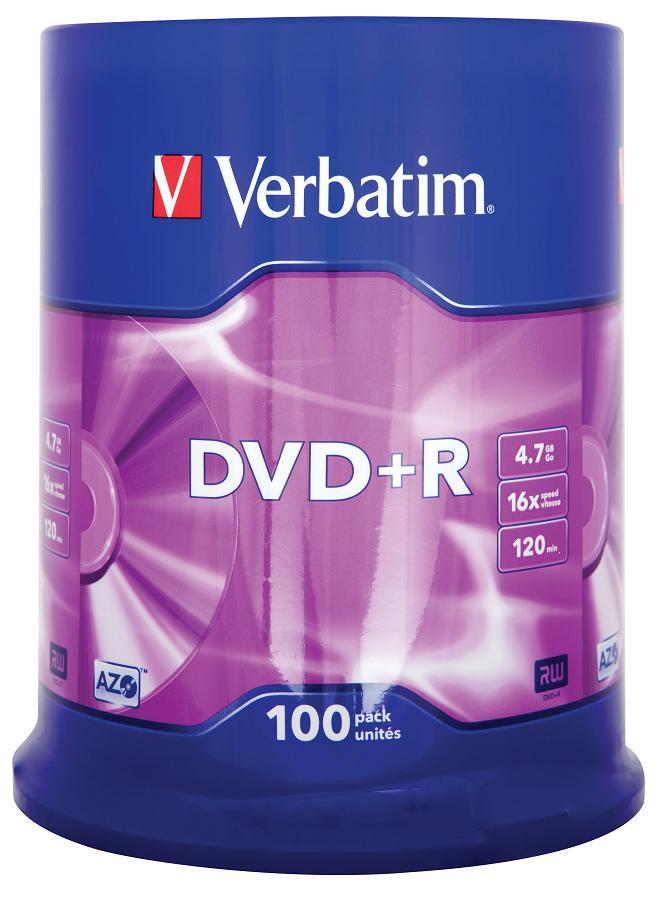 Картинка для Диски DVD+R 4.7Gb Verbatim 16x  100 шт  Cake Box  43551