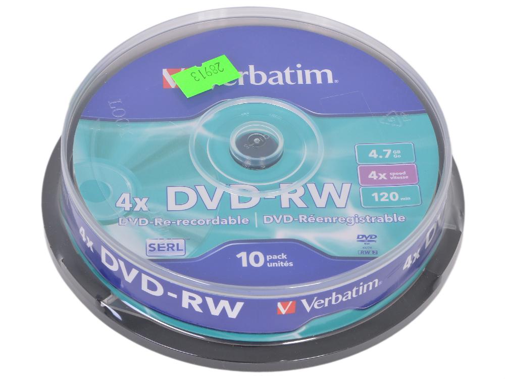 Картинка для Диск   DVD-RW 4.7Gb Verbatim 4x  10 шт  Cake Box  43552