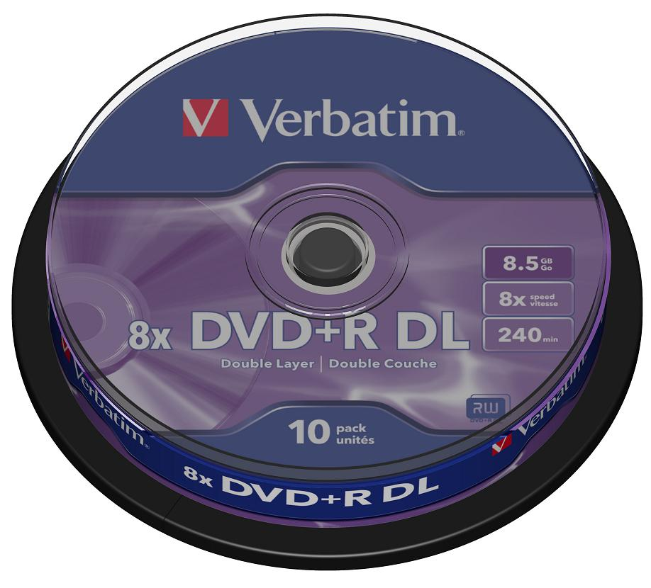 Диски DVD+R 8.5Gb Verbatim 8x 10 шт Cake box Dual Layer диски dvd r verbatim 8 5gb 8x double layer cakebox 50шт 43758