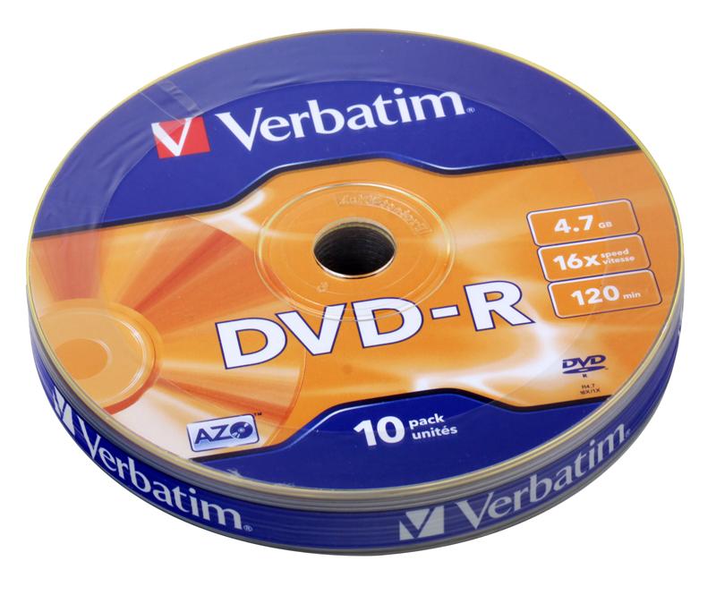 Диск DVD-R 4.7Gb Verbatim 16x Shrink/10  43729