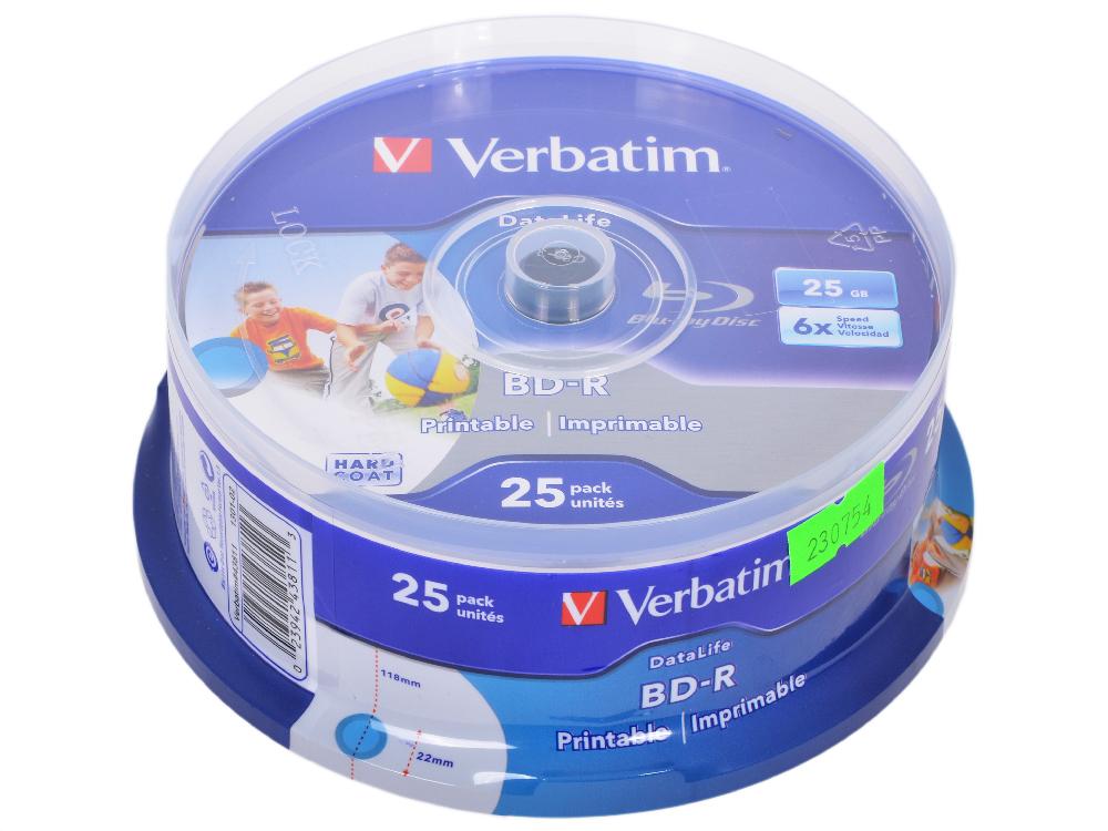 Диск Blu-Ray VERBATIM BD-R 25 GB 6x CB/25 Full Ink Print NO ID (43811) диск blu ray verbatim bd re 2x 25 gb 10 шт cake box 43694