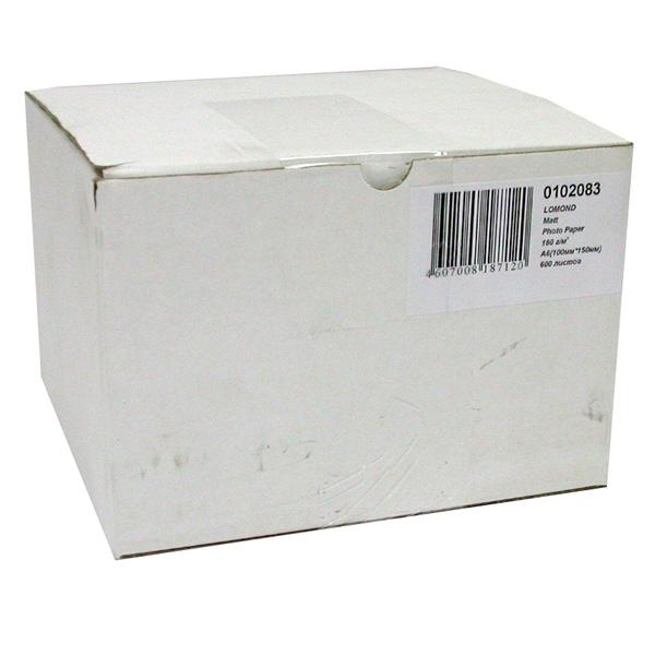 0102083 бумага LOMOND (100*150, 180гр, 600л) Матовая , 1стор.