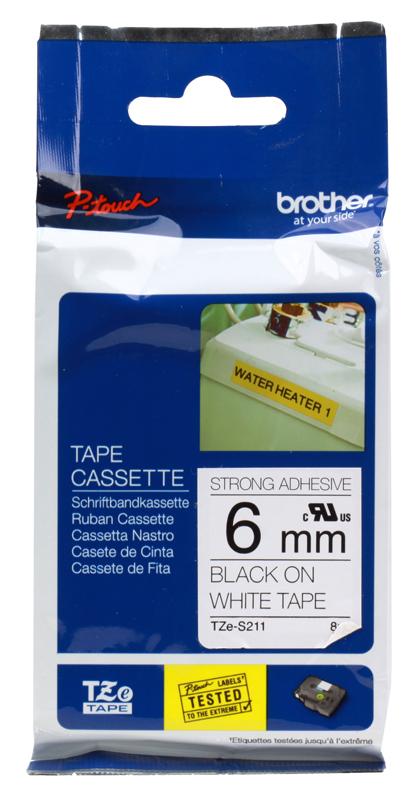 Лента Brother TZE211 6мм черный на белом