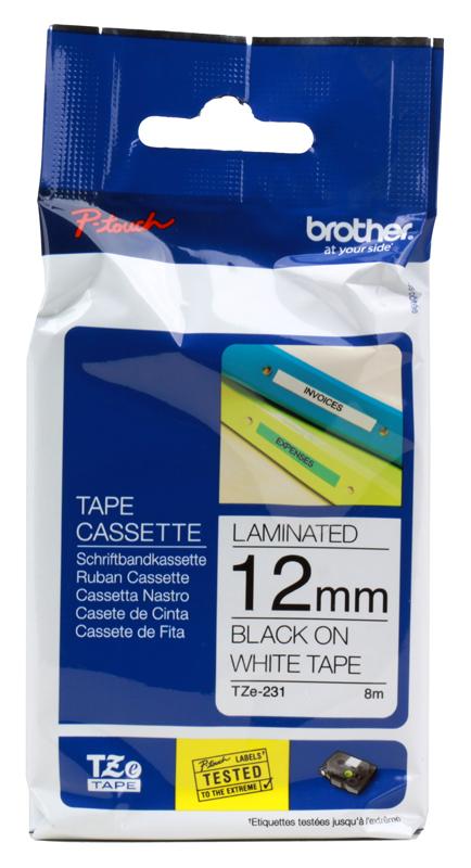 Лента Brother TZE231 12мм черный на белом лента brother dk22210