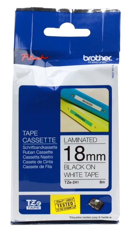 Лента Brother TZE241 18мм черный на белом лента brother dk22210