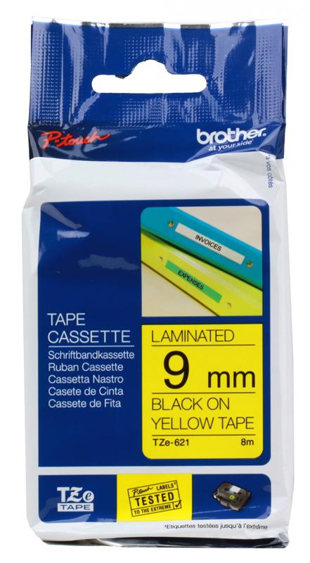 купить Лента Brother TZE621 9мм черный на желтом дешево