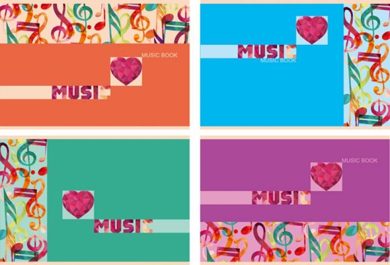 Би Джи тетрадь нотная би джи цветная музыка 24 листа линейка скоба тн5ск24 1373 в ассортименте тн5ск24 1373