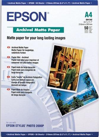 Фотобумага Epson C13S041342 A4 192 г/кв.м матовая архивная 50л