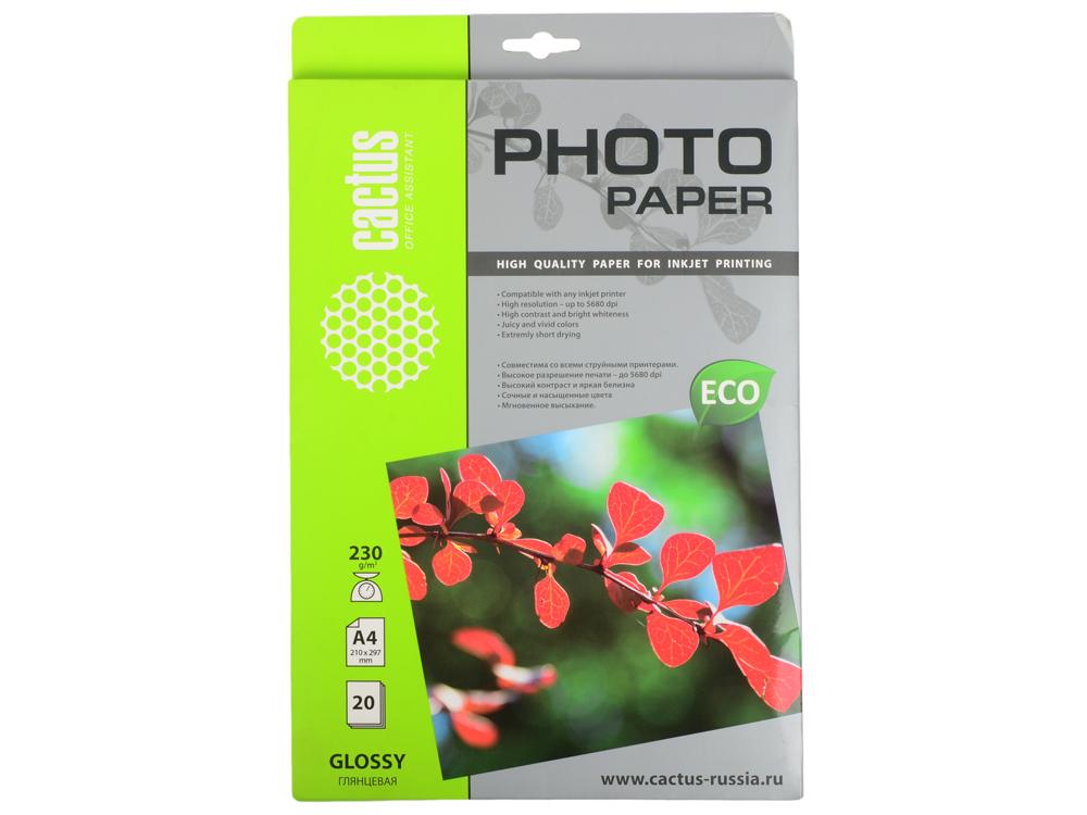 Бумага Cactus CS-GA423020E A4 230г/кв.м глянцевая 20л цены