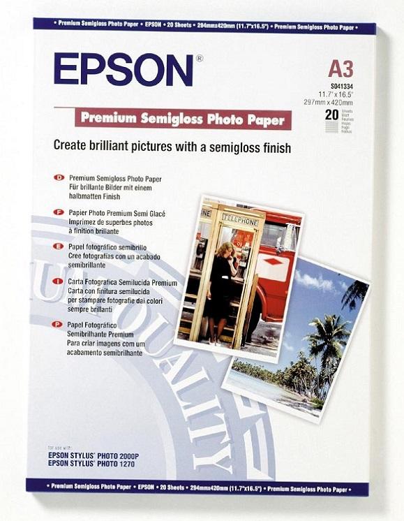 Бумага Epson A3 251 г/кв.м Premium Semiglossy Photo Paper [C13S041334] 20л бумага epson c13s041330 premium semiglossy photo paper 100 8m 251г м2