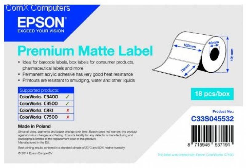 Бумага Epson Premium Matte Label 102x76мм C33S045532 цена