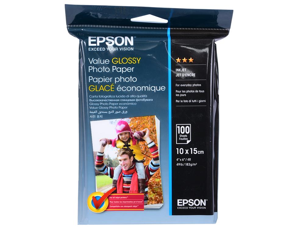 Фотобумага Epson Value Glossy Photo Paper 10x15cm (100 листов) (183 г/м2) бумага epson c13s041330 premium semiglossy photo paper 100 8m 251г м2