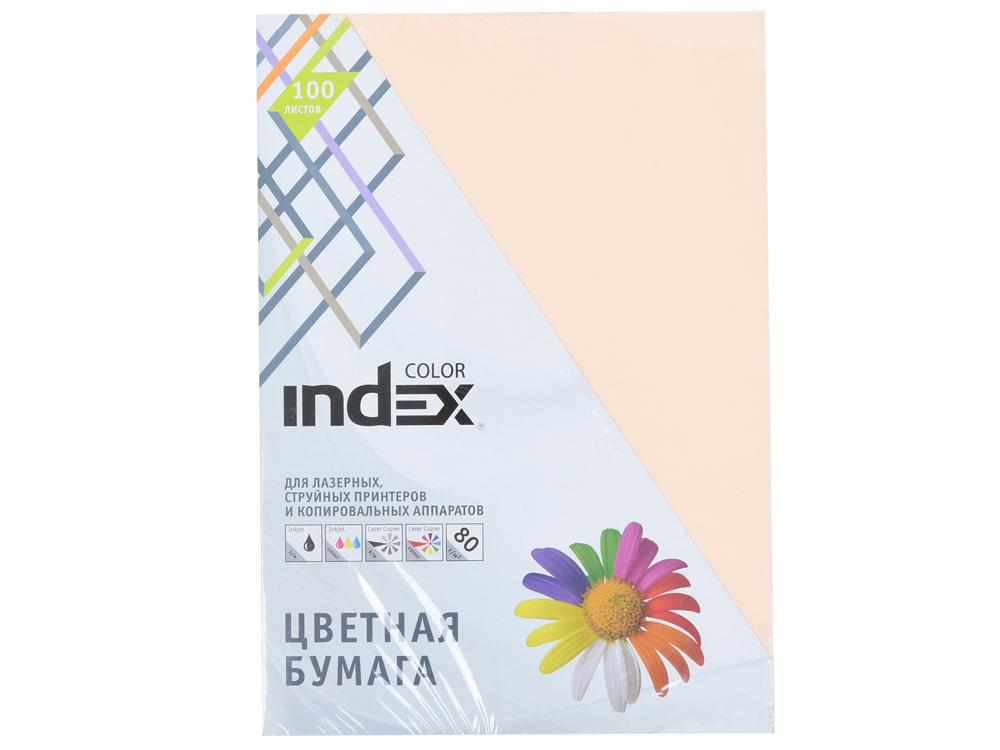 Бумага цветная Index Color, 80гр, А4, персиковый (31), 100л бумага цветная kaskad 80гр а4 светло желтый 55 500л