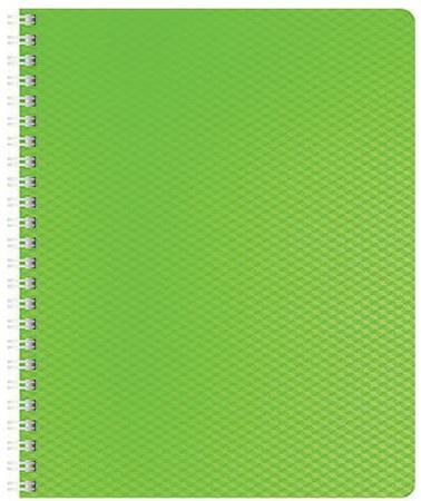 Тетрадь 80 л., А4 HATBER, гребень, клетка, пластиковая обложка, DIAMOND НЕОН-зеленая тетрадь 120л а5ф на 4 х кольцах пластиковая обложка на резинке diamond неон желтая