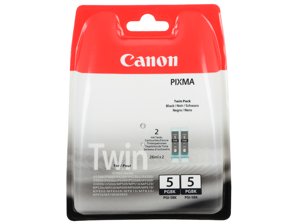 Картридж Canon PGI-5BK TWIN PACK для PIXMA MP800/MP500/iP5200/iP5200R/iP4200R/IX4000/IX5000. Двойная упаковка. Чёрный. 505 страниц/шт. струйный картридж canon pgi 5bk черный twin pack для pixma mp800 mp500 ip5200 ip5200r ip4200 двойная упаковка