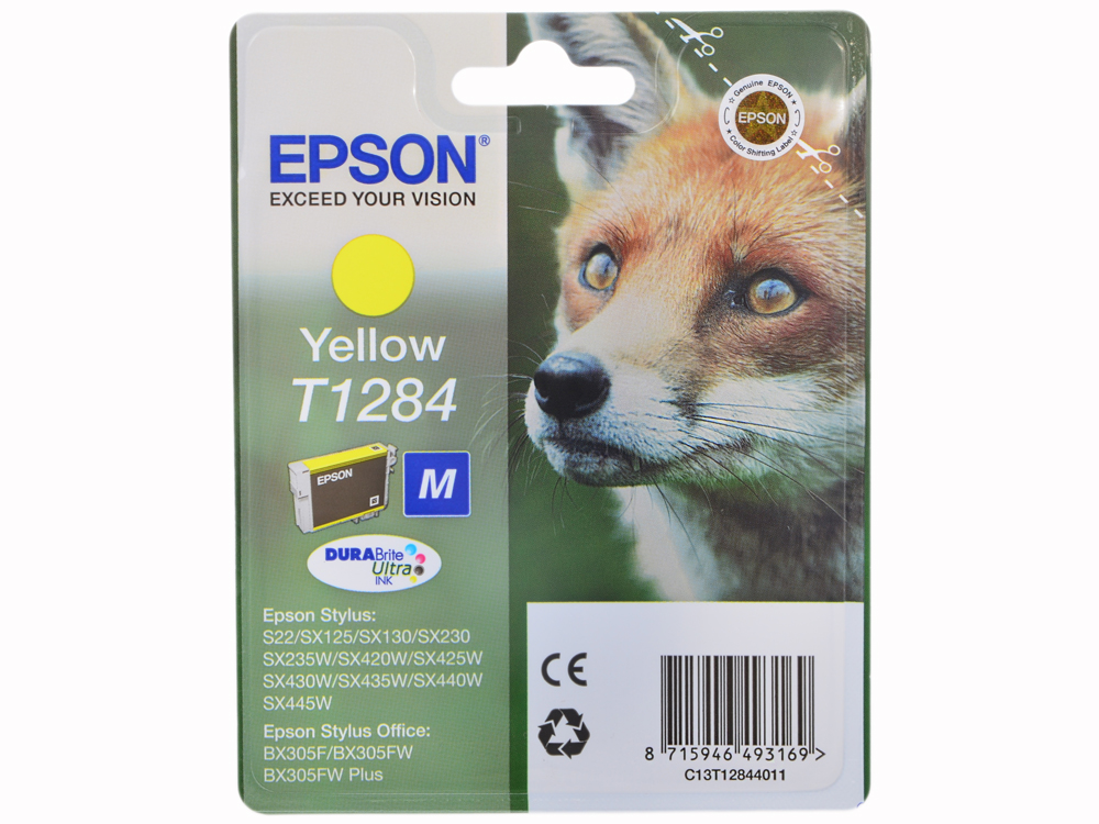 Картридж Epson Original T1284 (yellow) для S22/SX125 (C13T12844011) цена