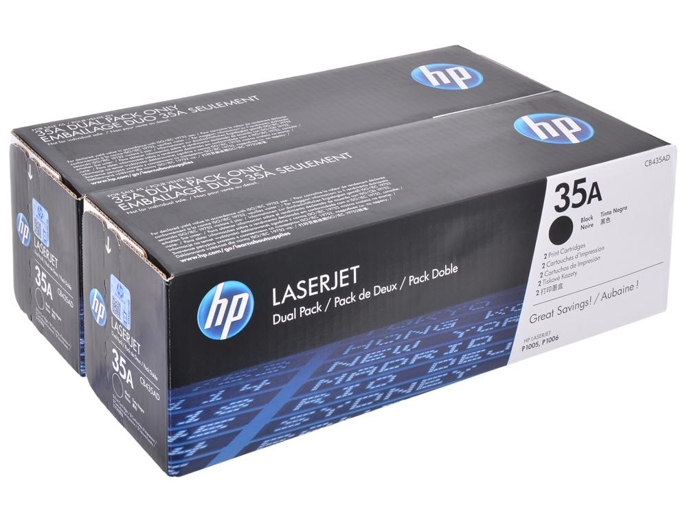 Картридж HP CB435AD двойная упаковка (черный для LJ P1005/P1006, 1500 страниц) тонер cactus cs mpt7 80 для hp lj p1005 p1006 p1100 p1102 scc черный 80грамм флакон