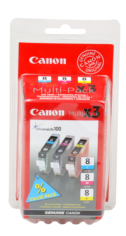 Чернильница Canon CLI-8C/M/Y для PIXMA MP800/MP500/iP6600D/iP5200/iP5200R/iP4200/IX5000. 3 штуки. Голубой, пурпурный, жёлтый. 700 страниц. картридж canon pgi 5bk twin pack для pixma mp800 mp500 ip5200 ip5200r ip4200 черный двойная упаковка