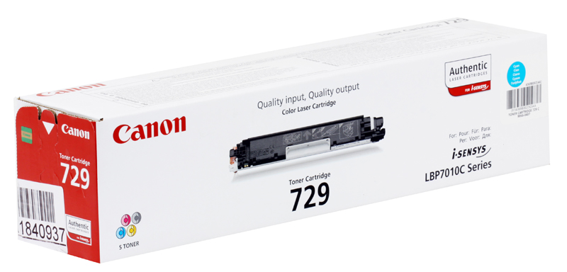 Картридж Canon 729 C для i-SENSYS LBP7010C и LBP7018C. Синий. 1000 страниц. картридж canon 729 y для i sensys lbp7010c и lbp7018c жёлтый 1000 страниц