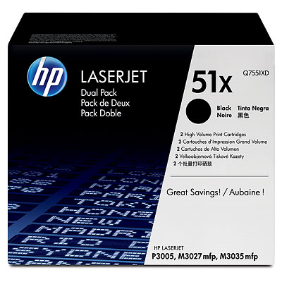 цена Картридж HP Q7551XD двойная упаковка ( LJ P3005/M3035mfp/M3027mfp)