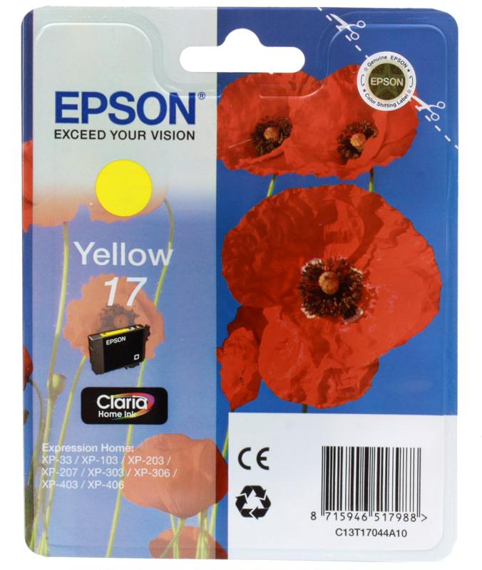 Картридж Epson Original T17044A10 Expression Home XP желтый цена 2017