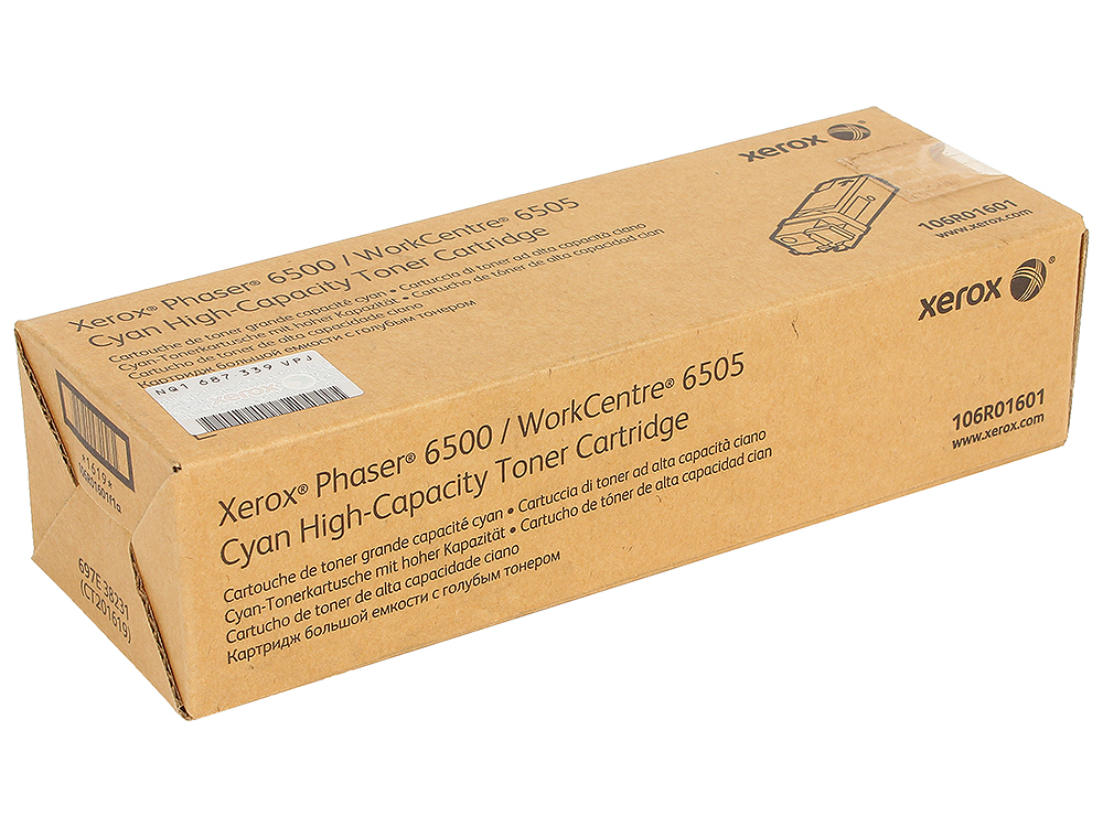 Картридж Xerox 106R01601 для Phaser 6500/WorkCentre 6505. Голубой. 2500 страниц. картридж xerox 106r01604 для phaser 6500 workcentre 6505 чёрный 3000 страниц