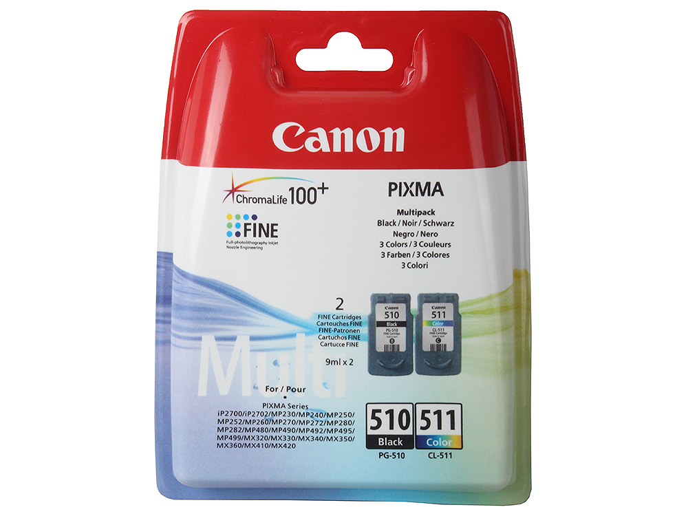 Набор картриджей Canon PG-510/CL-511 черный (black)/цветной (color) для Canon Pixma MP492, MP230, MP260, MP480, MP240, MP490, MP250, iP2700, MP270, MX 320, MX 330, MP272