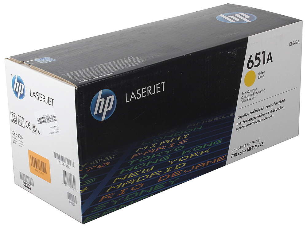 цена на Картридж HP CE342A (№651A) для принтеров HP LaserJet 700 Color MFP 775. Жёлтый.