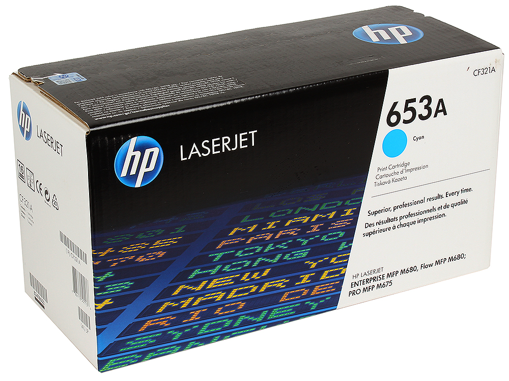 цены Картридж HP CF321A для LaserJet Enterprise Color MFP M680dn. Голубой. 16500 страниц. (653A)