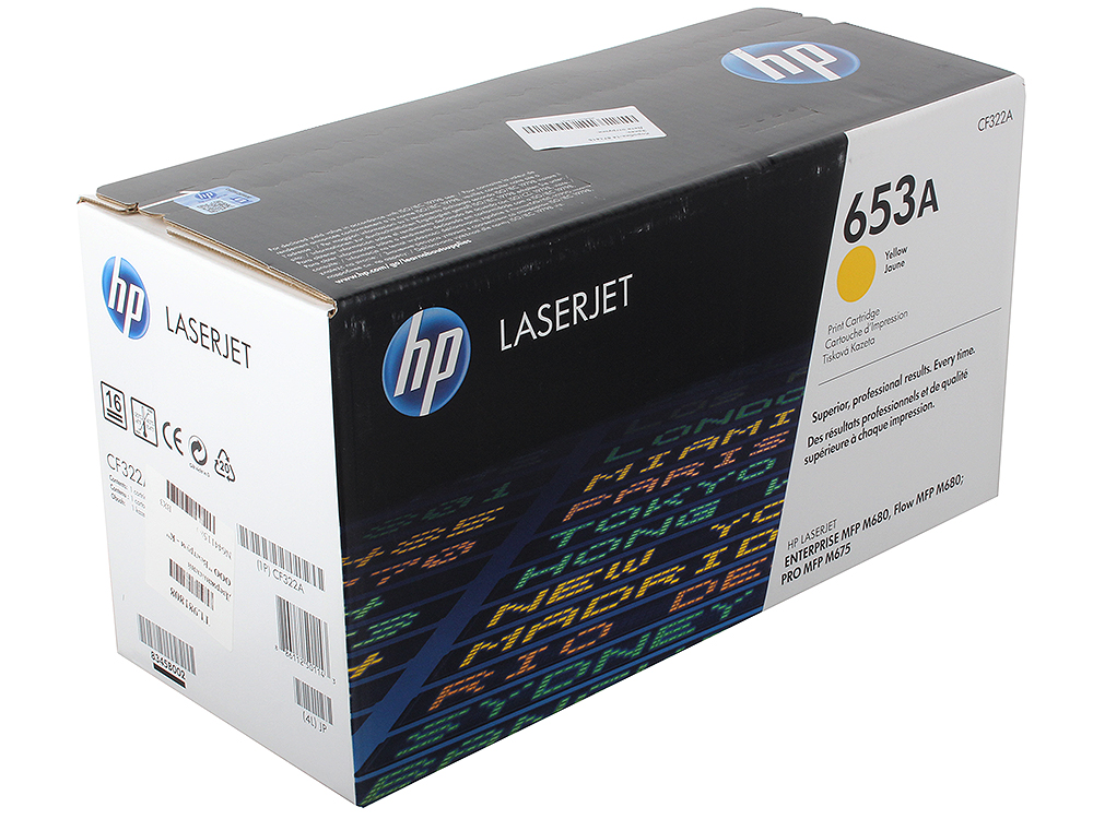 Картридж HP CF322A для LaserJet Enterprise Color MFP M680dn. Жёлтый. 16500 страниц. (653A)