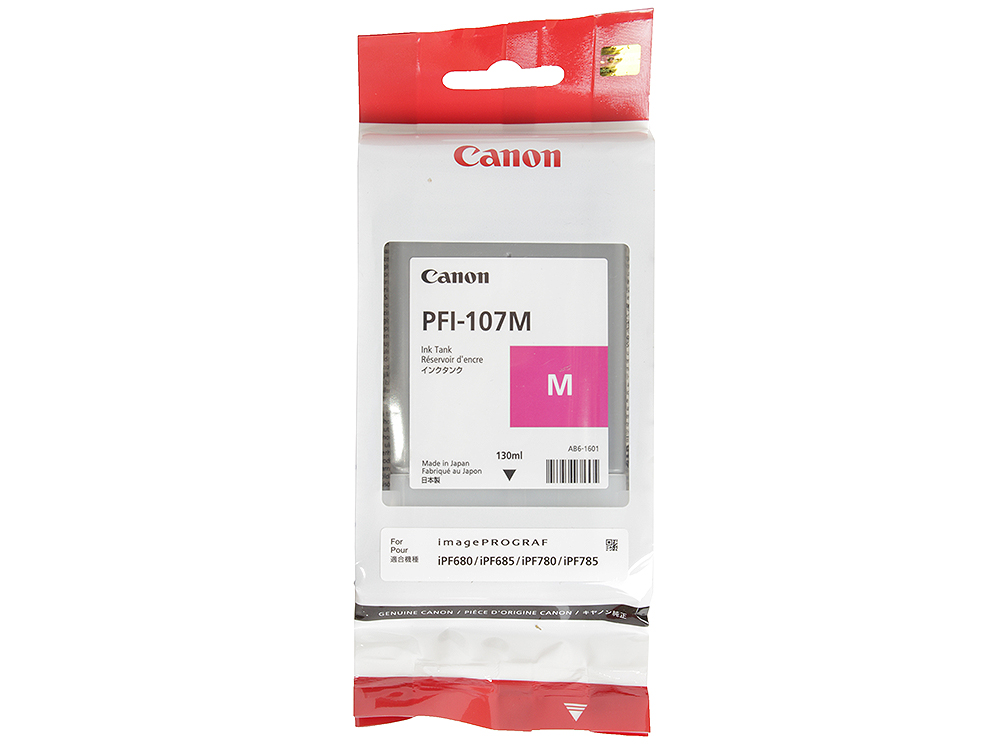 Картридж Canon PFI-107 M для плоттера iPF680/685/780/785. Пурпуный. 130 мл. картридж canon pfi 107 bk для плоттера ipf680 685 780 785 чёрный 130 мл