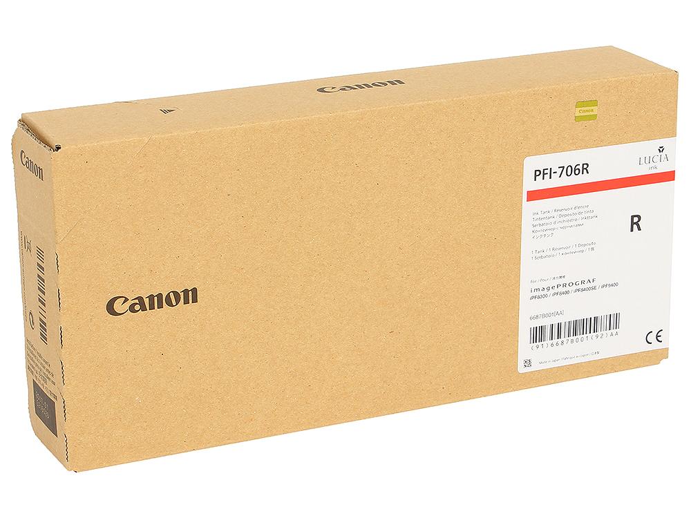 Картридж Canon PFI-706 R для плоттера iPF8400SE/8400/9400. Красный. 700 мл. картридж canon pfi 706 r для ipf8300 8300s 8400 9400s 9400 красный