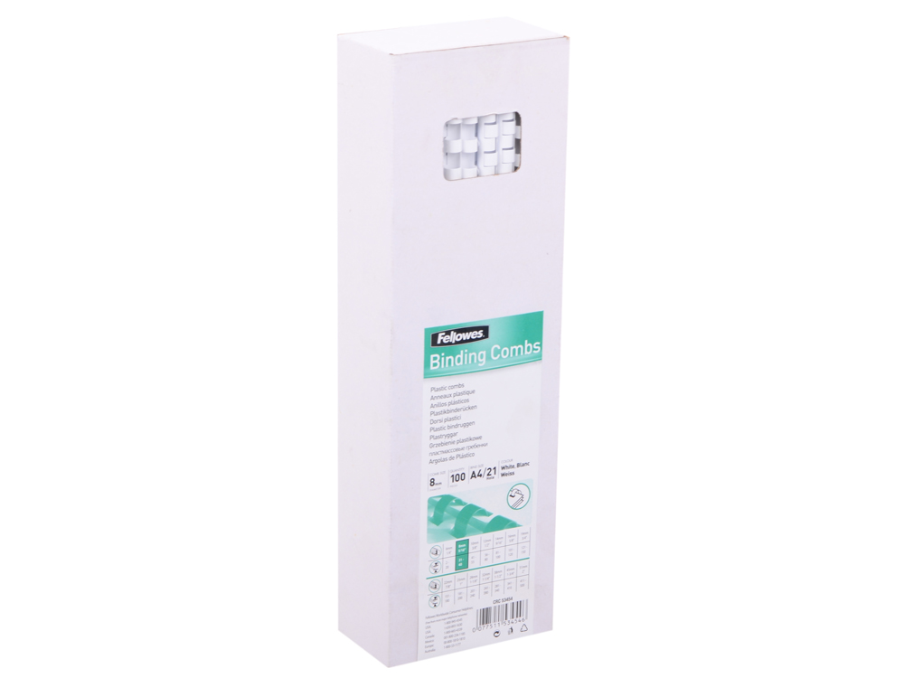 Пружина пластиковая Fellowes, 8 мм. Цвет: белый, 100 шт, шт цены онлайн