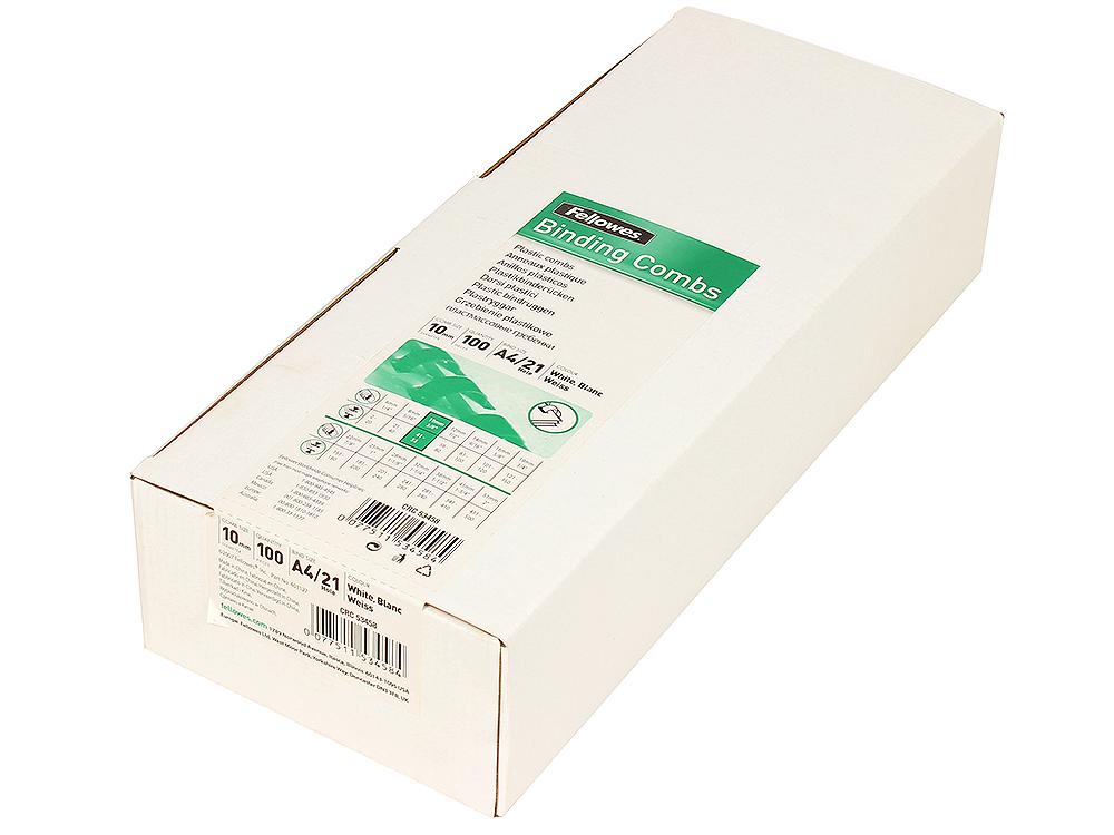 Пружина пластиковая Fellowes, 10 мм. Цвет: белый, 100 шт., шт