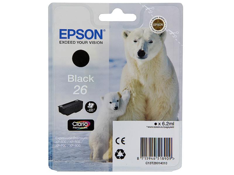 все цены на Картридж Epson Original T260140 для Expression Premium XP-600/XP-700/XP-800. Черный онлайн