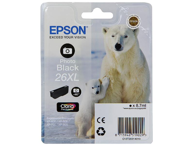 Картридж Epson Original T263140 для Expression Premium XP-600/XP-700/XP-800. Черный фото, XL снпч epson expression premium xp 650