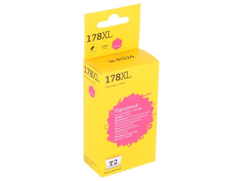 Картридж T2 IC-H324 №178XL (CB324HE) для HP Deskjet 3070A/Photosmart 6510/7510/B110/C8583, пурпурный, с чипом картридж t2 cb324he 178xl ic h324