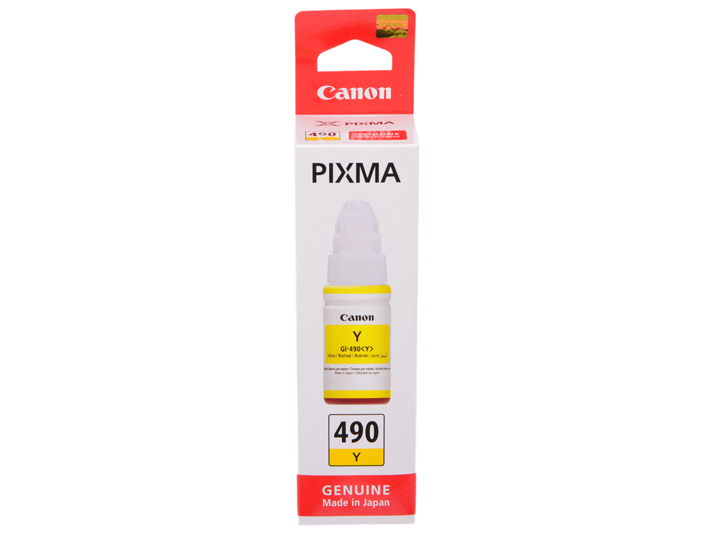 Картридж Canon GI-490 Y для G1400/G2400/G3400. Жёлтый. 7000 страниц.