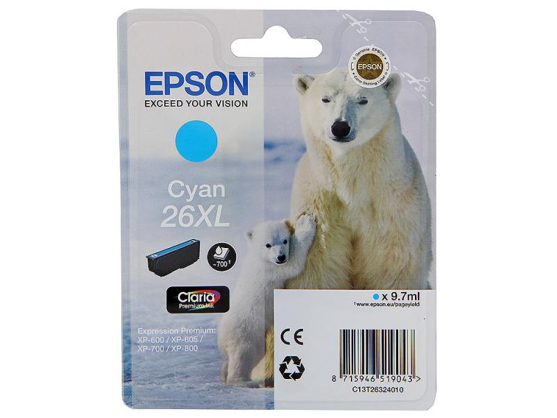 Картридж Epson C13T26324010 для XP-600 XP-605 XP-700 XP-800 Cyan Голубой увеличенный цена 2017