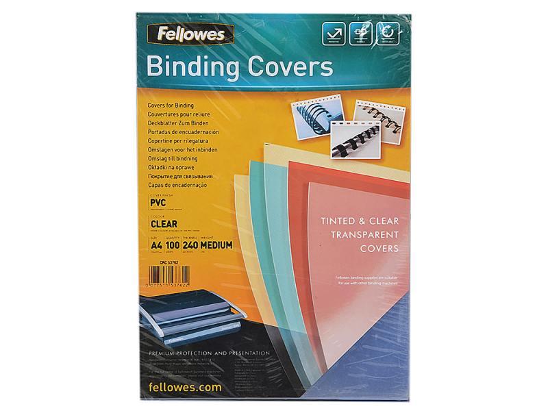Обложка Fellowes Transparent A4 0.24мм прозрачный 100 шт FS-53762 чистящая салфетка fellowes fs 99745 1 шт