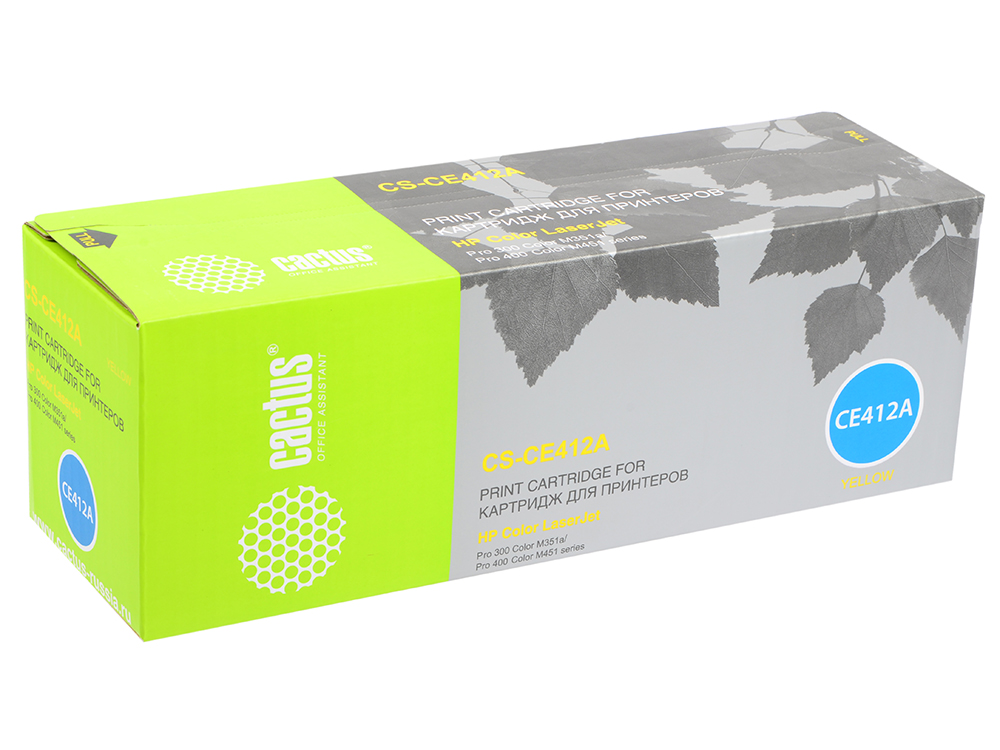 Картридж Cactus CS-CE412A для HP CLJ Pro 300 Color M351 /Pro 400 Color M451 желтый 2600стр картридж boost ce412a желтый
