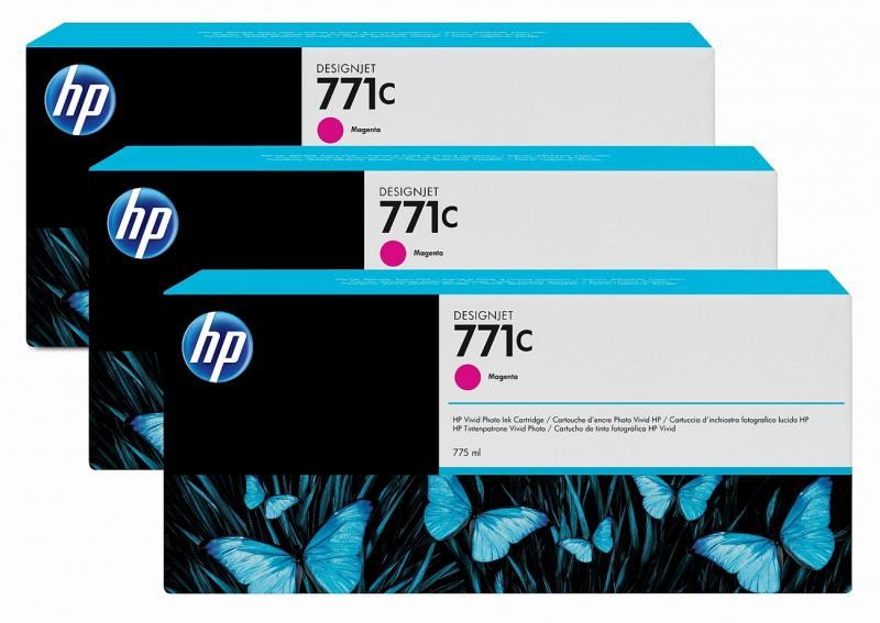 Картридж HP №771C B6Y33A для HP Designjet Z6200 775 мл пурпурный 3шт картридж струйный hp 771c b6y32a хроматический красный для designjet z6200 printer series 775 мл 3 шт в упаковке