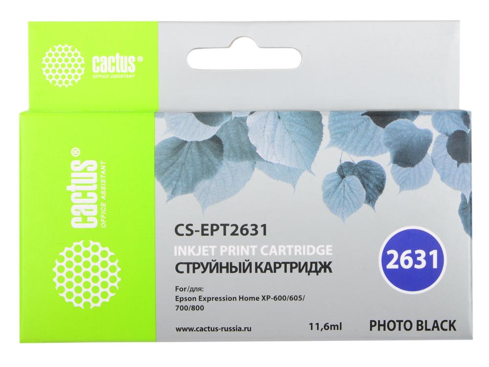 Картридж Cactus CS-EPT2631 для Epson Expression Home XP-600/605/700/800 фото черный заправка cactus cs rk ept2601 для epson home xp 600 черный 60мл
