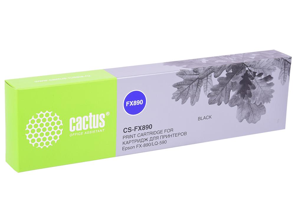 Картридж Cactus CS-FX890 для Epson FX-890/LQ-590 черный 5000000 знаков картридж epson c13s015022ba для epson lq 1000 1050 1010 lq 1070 1170 черный