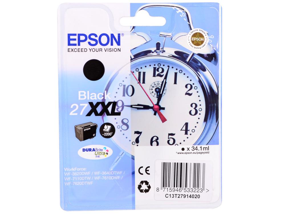 EPSON C13T27914020/4022 Картридж с черными чернилами DURABrite Ultra экстраповышенной XXL емкости (2200 стр.) для Epson WorkForce WF-7620DTWF (cons ink)