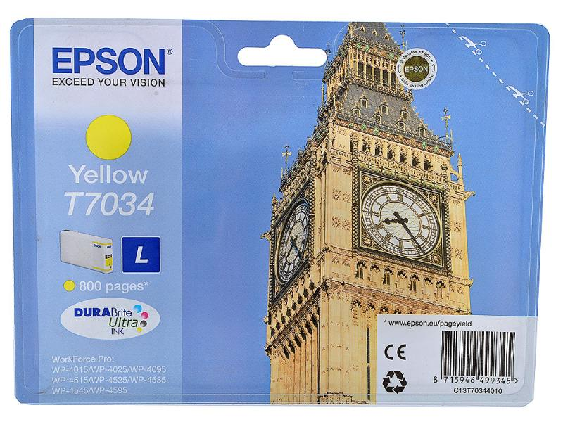 Картридж Epson C13T70344010 для Epson WP4000/4500 желтый
