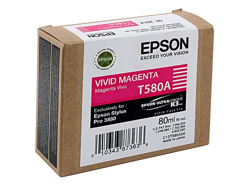 Картридж Epson C13T580A00 для Epson Stylus Pro 3880 Vivid Magenta картридж epson c13t580b00 для epson stylus pro 3880 vivid light magenta